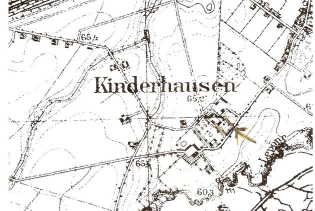 Genaue Lage des Grundstücks in Kinderhausen s. Pfeil