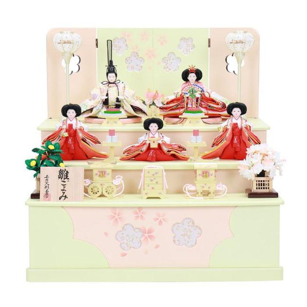 ひな人形 五人収納箱飾り 4H16-GP-019 五人収納箱飾り一式(正面)
