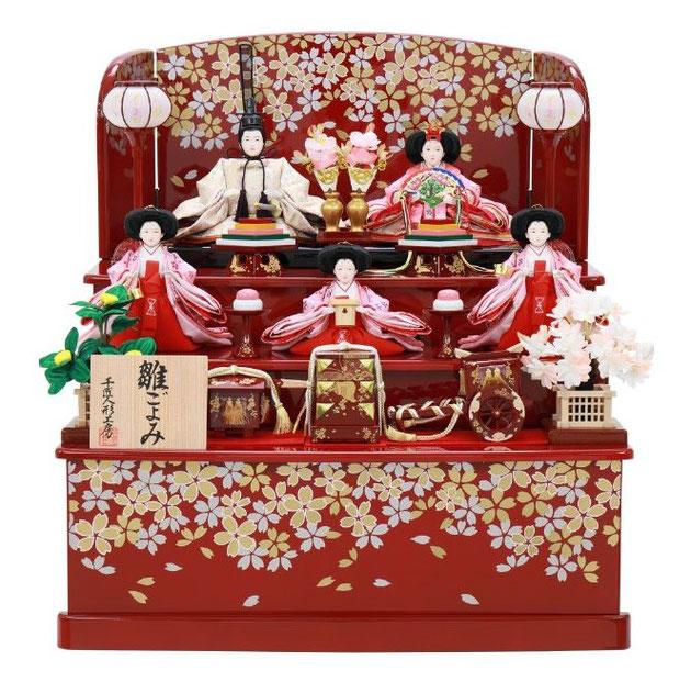 ひな人形 五人収納箱飾り 4H16-GP-023 五人収納箱飾り一式(正面)