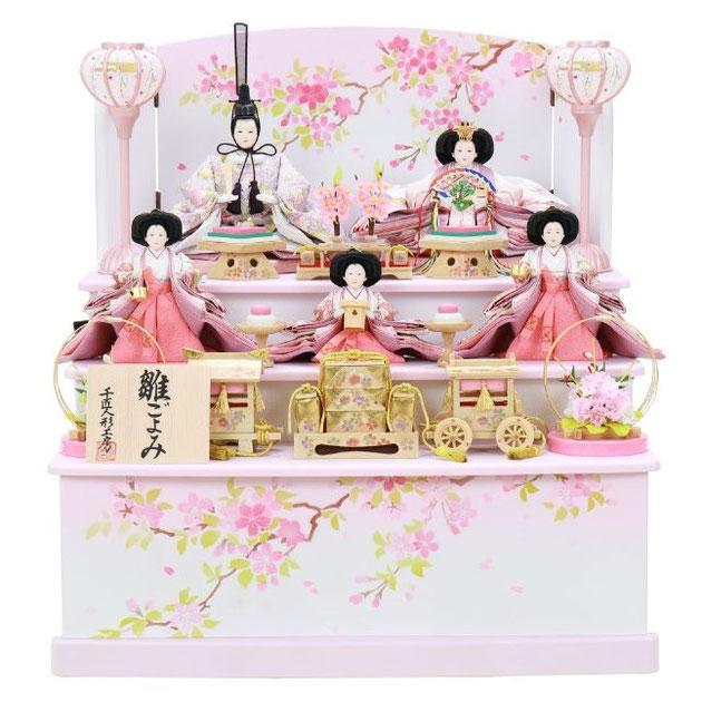 ひな人形 五人収納箱飾り 4H16-GP-025 五人収納箱飾り一式(正面)
