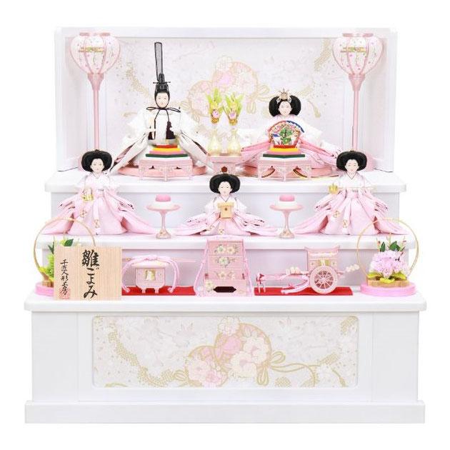 ひな人形 五人収納箱飾り 4H16-GP-022 五人収納箱飾り一式(正面)