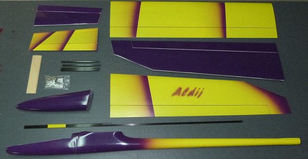 planeur Aldij Aeromod version luxe, jaune / violet foncé