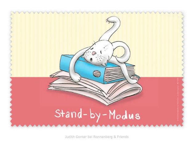 STAND-BY-MODUS? - HASE, ARBEIT, MÜDE - Text und Bild Judith Ganter bei Rannenberg & Friends - Brillenputztücher, kleine Geschenke, Mitbringsel Prüfung, Motivation