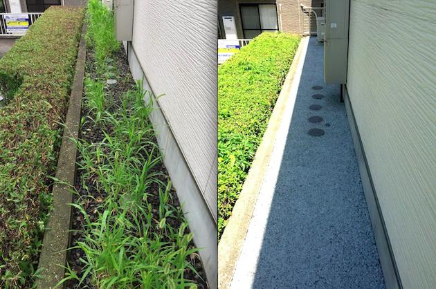 透水性コンクリート『ドライテック』を犬走りに施工。これで草取りから解放される!