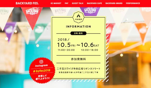 東京二子玉川で開催されるバックヤードフェス2018のお知らせ