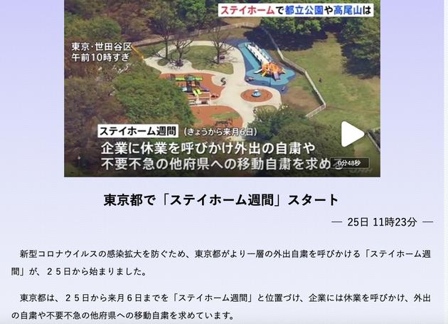 東京では2020年4月25日から5月6日までステイホーム週間が始まった