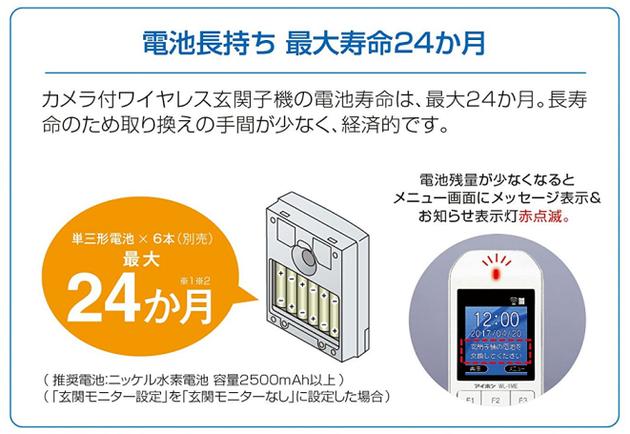まずは玄関子機の電池。最大24ヶ月とは2年!?