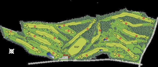 18-Loch Meisterschaftsplatz mit Abschlägen Gelb, Blau, Rot, Grün