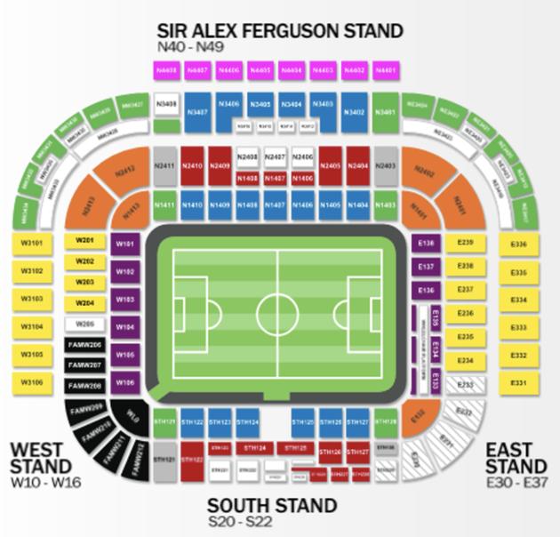 Stadionplan Old Trafford Manchester United, Quelle: www.premierleague.com
