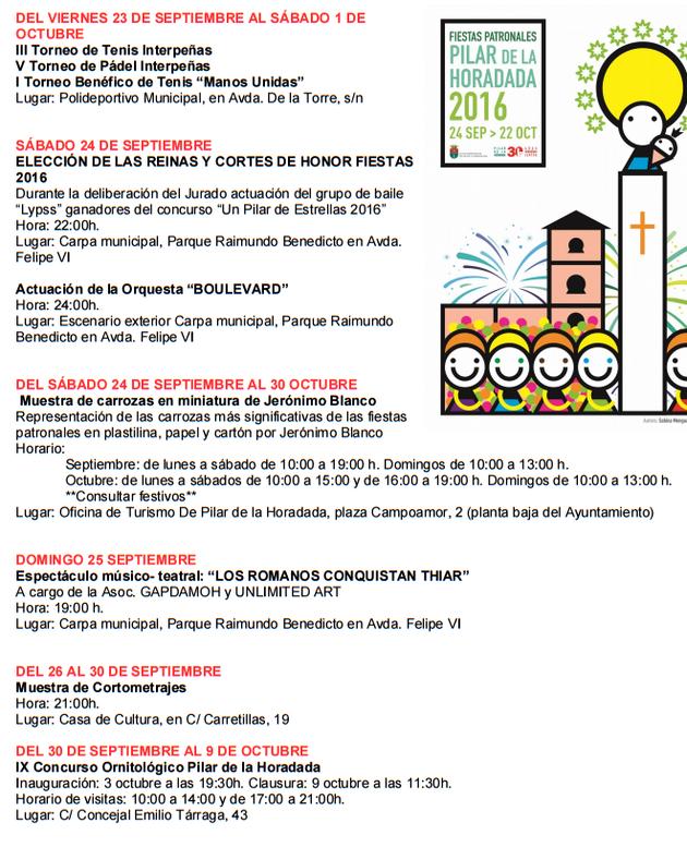 Fiestas de Pilar de la Horadada Programa