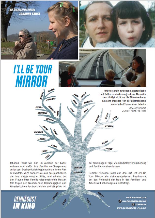 """Filmplakat """"I'll be your mirror"""" mit Familienfotos und Stammbaum"""