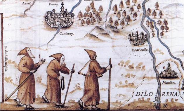 Cappuccini in cammino per fondare la Provincia di Lorena, dall'Atlante Cappuccino di Silvestro da Panicale