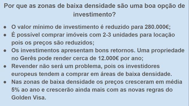 Vantagens de investir em areas de baixa densidade em Portugal