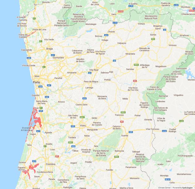 Meeresspiegel Portugal Norden