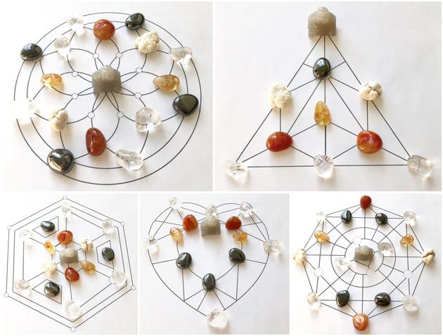 Crystal Grid, Steinigung, Seine Lesung, Heilsteine, Heilige Geometrie, Blume des Lebens, Legeschablonen