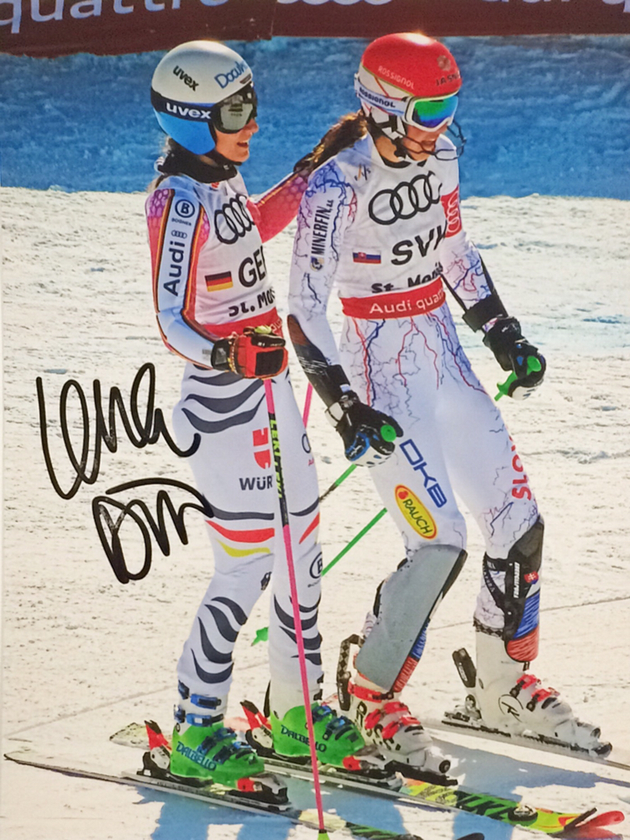 Lena Dürr German Slalom Specialist, Team Bronze Medal World Championship 2013, won one World Cup Race, Picture taken at Team Event World Championship St. Moritz 2017, Autograph by Mail