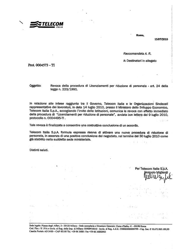 Revoca procedure di licenziamento in TELECOM... - UGL ...
