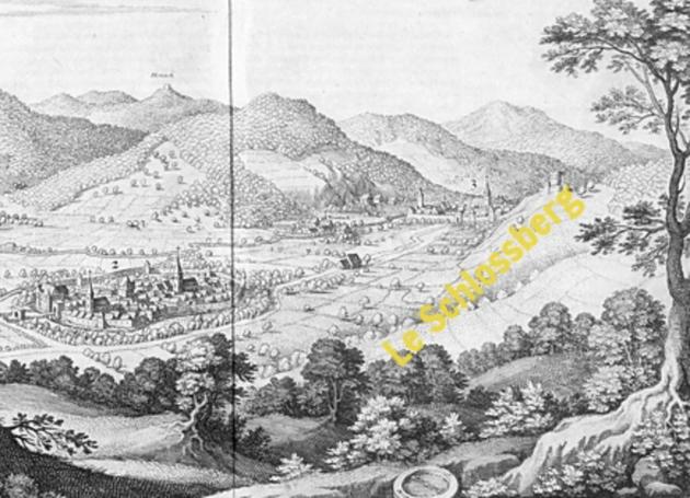 Kientzheim et Kaysersberg ainsi que le Schlossberg - Gravure de Mattheus MERIAN, Topographia Alsatiae, 1644