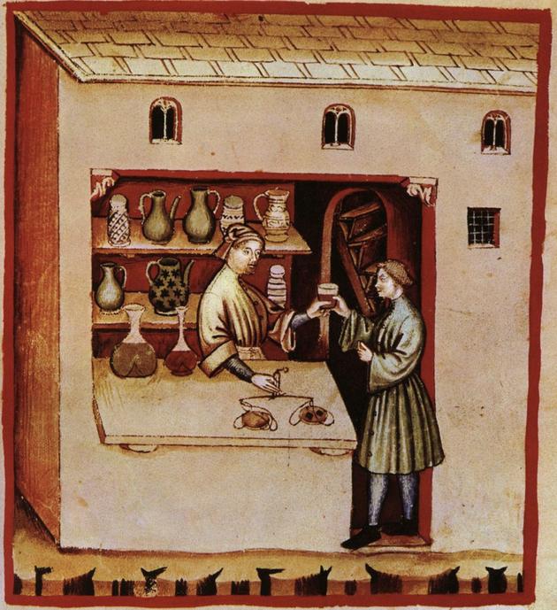 Les apothicaires et apothicairesses étaient les précurseurs des pharmaciens. Ils préparaient et vendaient des breuvages et des médicaments pour les malades. « Apothecarius » vient du latin et signifie « boutiquier »