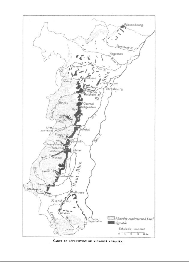 """carte de répartition du vignoble alsacien 1920 in """" Le vignoble alsacien"""" article de André Lucius publié en 1922 dans les Annales de Géographie t. 31, n°171, 1922. pp. 205-214"""