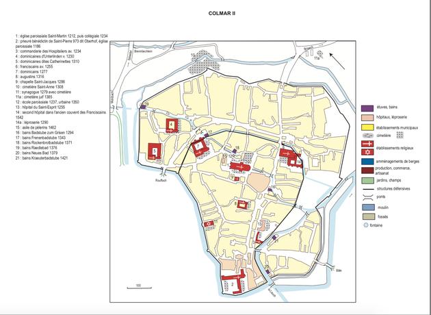 Les établissements de bains et les cours d'eau de Colmar - carte issue de l'Atlas historique d'Alsace