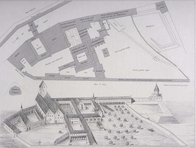 Plan et relief du Couvent des Chevaliers de Saint-Jean de Jérusalem à Strasbourg en 1630, lieu initial d'installation des Teutoniques à Strasbourg et actuelle Ecole Nationale d'Administration