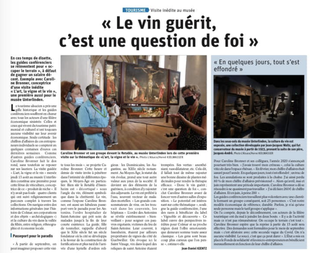 """Visites guidées """"l'art, la vigne et le vin"""" au Musée Unterlinden - le Saint Vinage"""