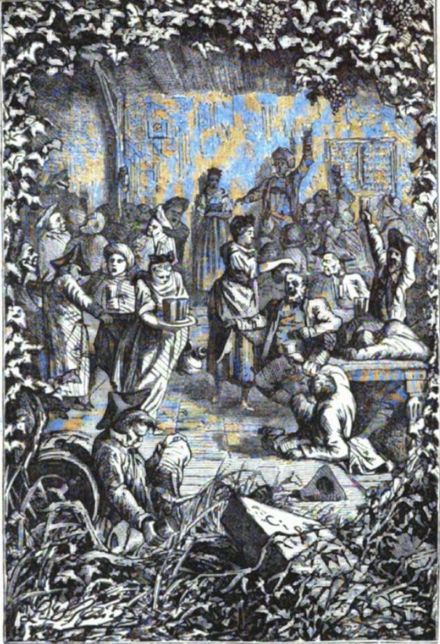 Du vin, du vin ! illustration in Le Chant de la Tonne par Erckmann-Chatrian (Emile Erckmann, 1822-1899 et Alexandre Chatrian, 1826-1890) publié dans Contes des bords du Rhin, in Contes et Romans populaires (1867) aux célèbres éditions Hetzel.