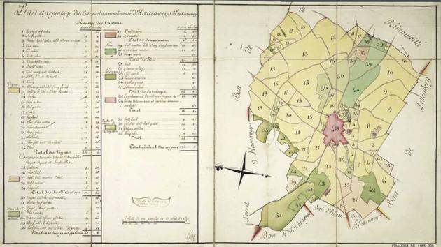 Plan et arpentage du ban de la communauté de Hunaweyer - Hunawihr - carte établie au XVIIIe siècle - Archives départementales du Haut-Rhin 5C 1165/08