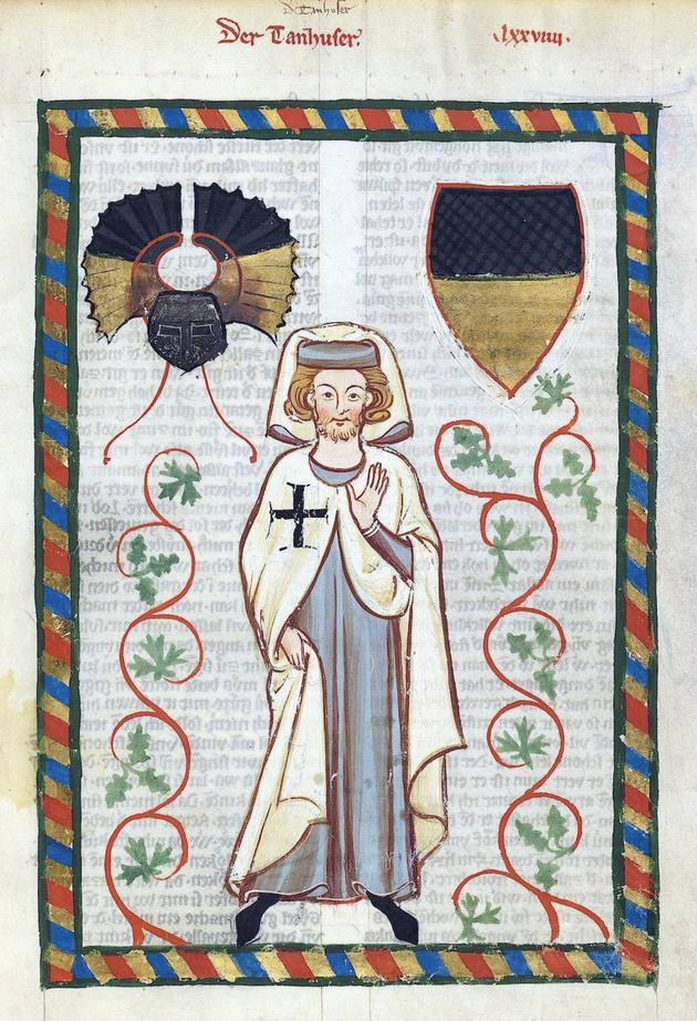 Tannhäuser revêtu du manteau blanc à la croix noire des Chevaliers Teutoniques - Codex Mannesse ( Manuscrit de poésie lyrique enluminé  ( 1310-1340) -Bibliothèque de l'Université de Heidelberg