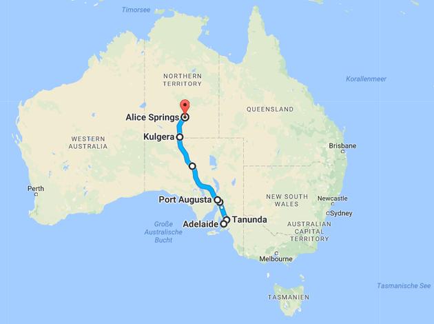 Die Strecke von Adelaide nach Alice Springs. (Quelle: Googlemaps)