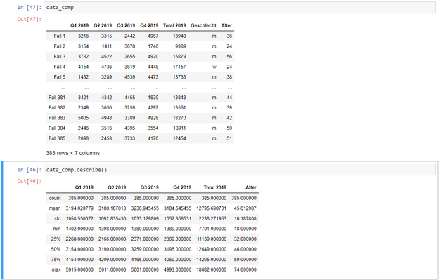 Output deskriptiver Statistiken als pandas DataFrame