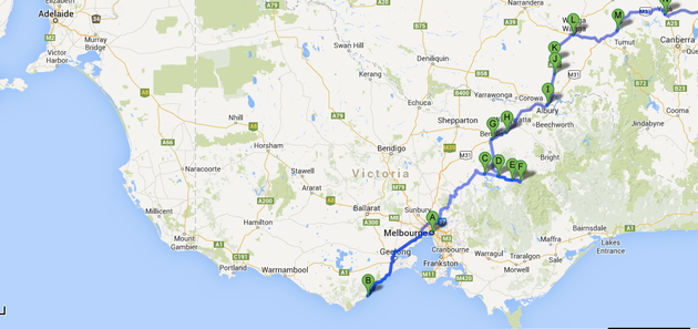 Click to zoom (Melbourne, Victoria to the border with New South Wales)