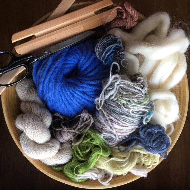 Wool, silk and alpaca fibers for a spring palette weaving to chase away the winter storm blues