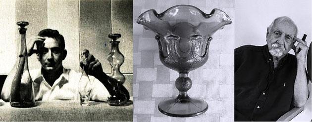 Arriba, a la izquierda, Wayne Husted en los años 50, a la derecha, Wayne Husted a los 100 años. Al centro, la artística copa-bombonera.