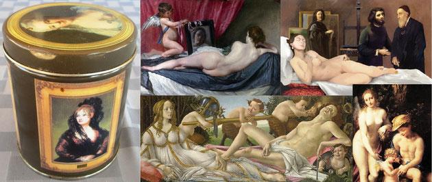 Obras de la National Gallery que no salen en nuestra latita (en el sentido del tic-tac, empezando arriba a la izq):  1) La Venus del espejo-Velázquez; 2) Le Chef-d'oeuvre Inconnu-Hamilton; Venus con Mercurio y Cupido-Correggio; Venus y Marte-Botticelli