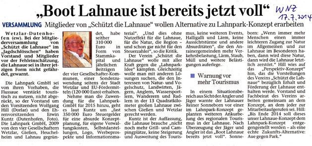Wetzlarer Neue Zeitung 17.7.2014 Bericht von Jahreshauptversammlung  Juni 2014