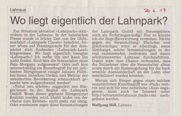 Leserbrief Gießener Allgemeine Zeitung 20.6.2014