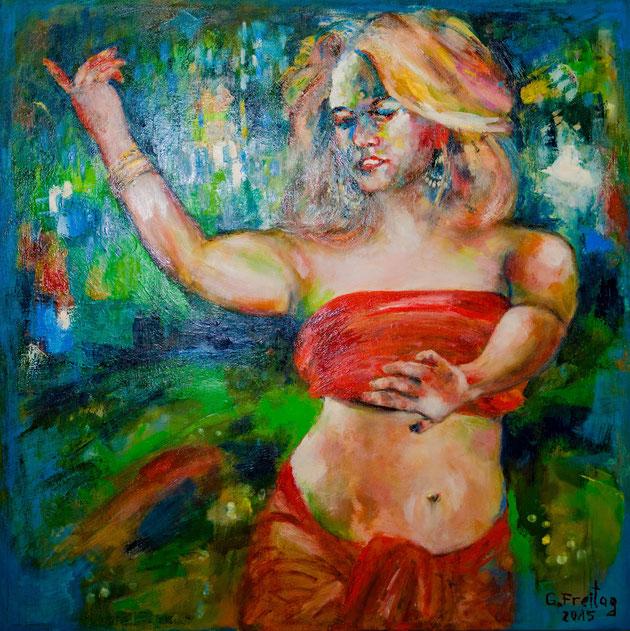 Sonjuschkas Tanz | 2015, Öl auf Leinwand, 100 x 100 cm