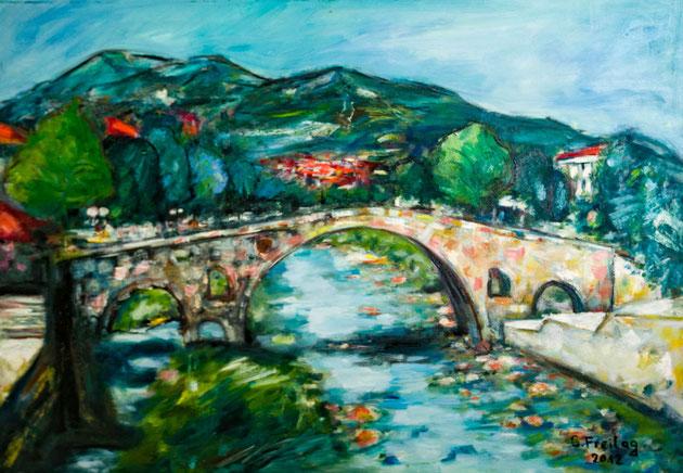 Steinbrücke in Prizren | 2012, Öl auf Leinwand, 100 x 80 cm. Privatsammlung!