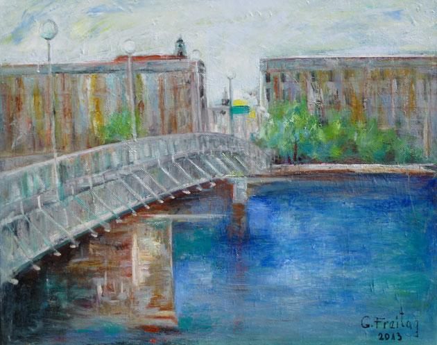 Nibelungenbrücke in Linz | 2013, Öl auf Leinwand, 100 x 80 cm
