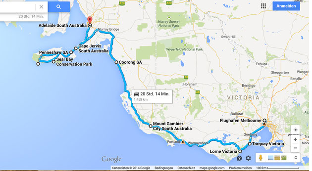 Travel map South Australia