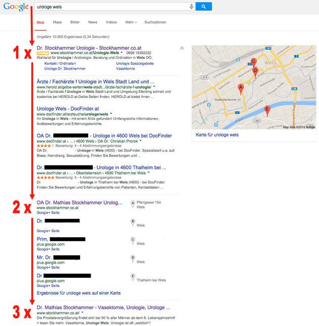 Maxsells Referenz regionale Google Optimierung Dr. Stockhammer Wels