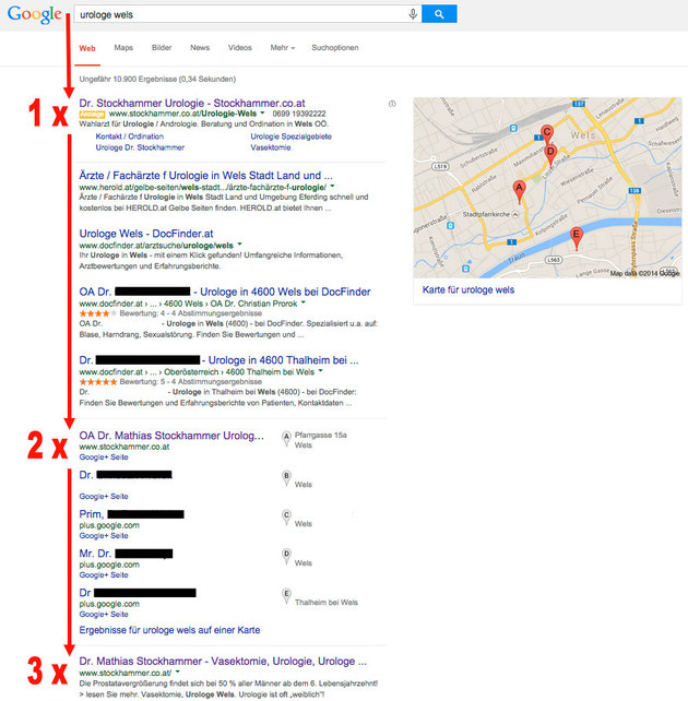 Maxsells Referenz regionale Google Optimierung Dr. Stockhammer Wels