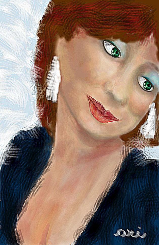 RITRATTO DI GIOCOSA MENTE - 2012  dipinto a mano libera al pc  tecnica colori ad olio