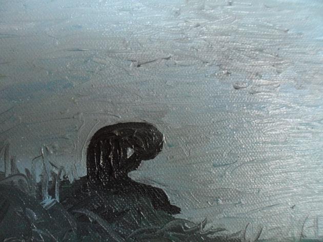 SONO TRISTE SENZA DI TE -2012 olio su tela 13 x 18