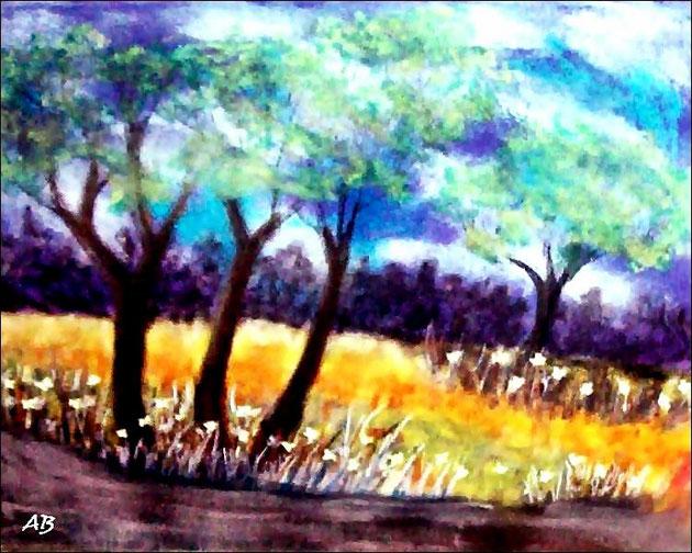 Spring Time-Frühlingslandschaft-Pastellgemälde-Wald-Bäume-Blüten-Feld-Blumen-Weg-Wiese-Gras-Himmel-Wolken-Landschaftsmalerei-Frühling-Pastellbild-Pastellmalerei