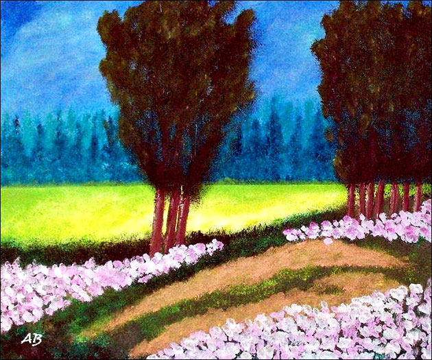 Weg am Feld-Ölgemälde-Landschaftsmalerei-Frühling-Sommer-Wald-Feld-Raps-Bäume-Wiese-Gras-Weg-Himmel-Wolken-Ölmalerei-Ölbild