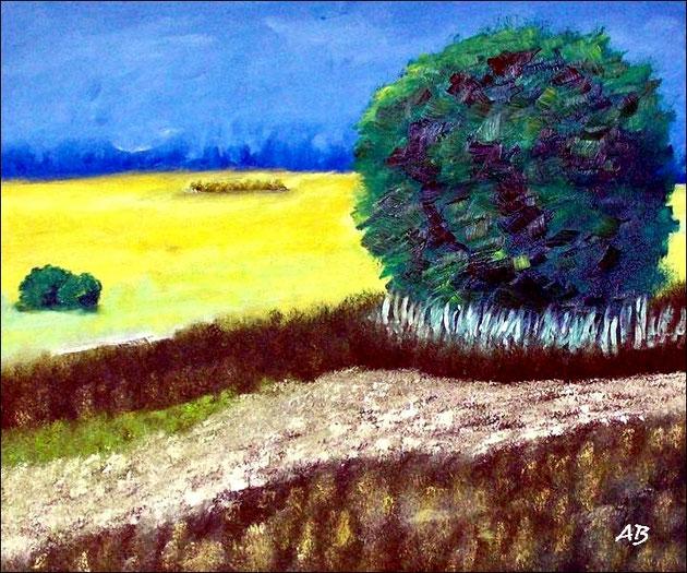 Am Rand des Feldes-Rapsfeld-Ölmalerei-Bäume-Wald-Büsche-Feld- Frühling-Wiese- Blumen-Gras-Baum-Himmel-Wolken-Landschaftsmalerei-Ölgemälde-Ölbild