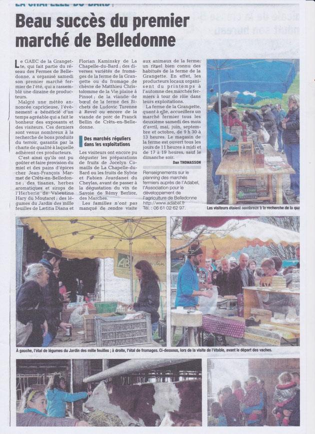 Le Dauphiné Libéré, le 11 avril 2016